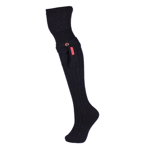 Fully-fashioned Knee-Length Sock in Black