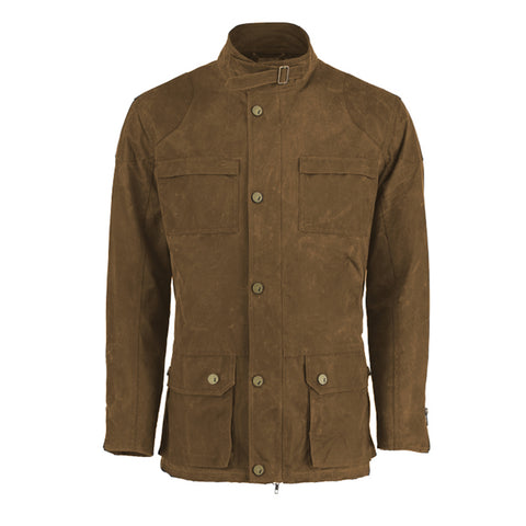 Archie Foal Men's ANSGAR Wax Cotton Biker Field Jacket in Brown