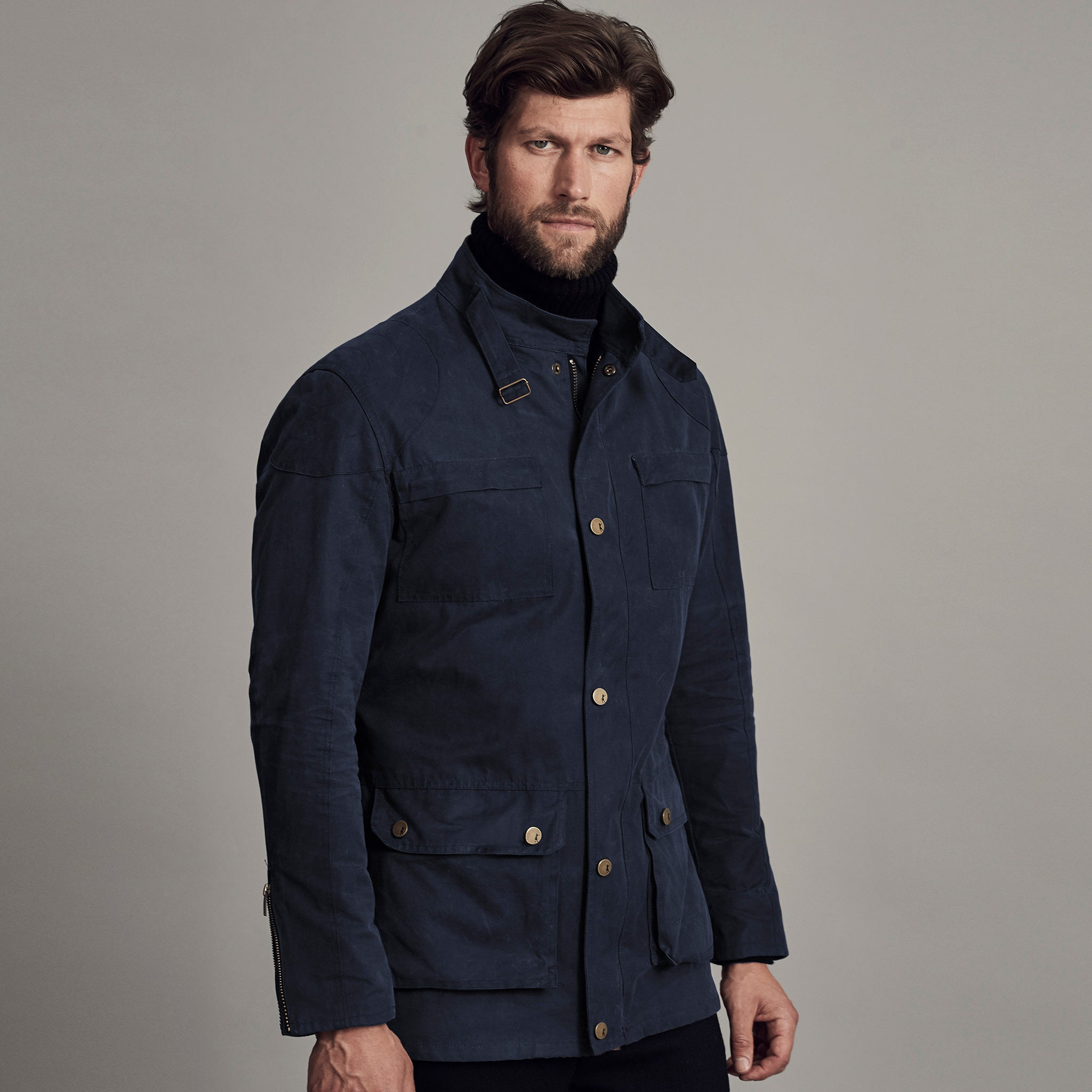 Archie Foal Men's ANSGAR Wax Cotton Biker Field Jacket in Navy