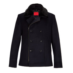 Archie Foal Men's Navy Wool Kian Jacket with Shearling Collar