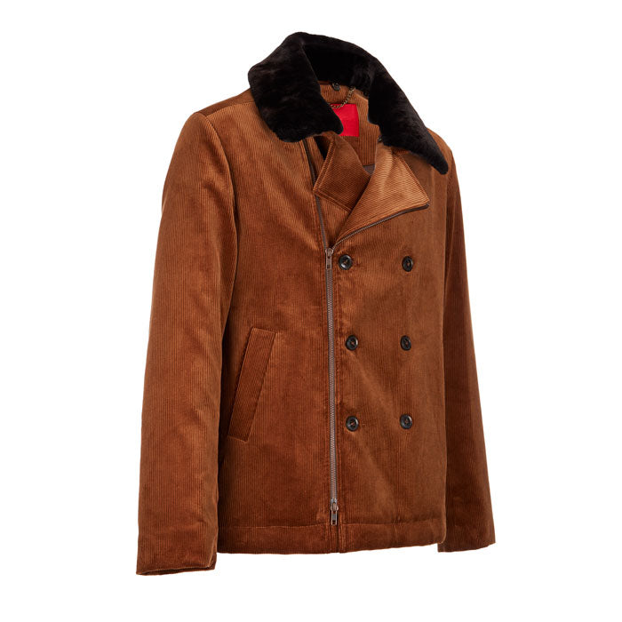 Archie Foal Men's Tan Cord Kian Jacket with Shearling Collar