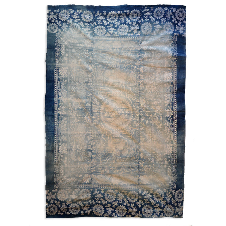 Blue Handed U057 Hand-loomed Cotton Natural Indigo Throw