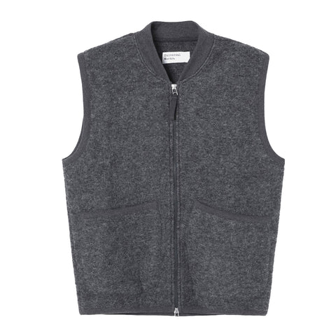 Universal Works AW19 Wool Fleece Zip Waistcoat in Charcoal