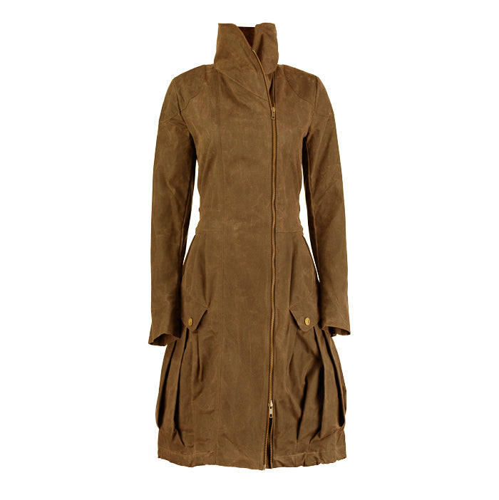 Archie Foal Women's Gia Wax Cotton Coat in Tan