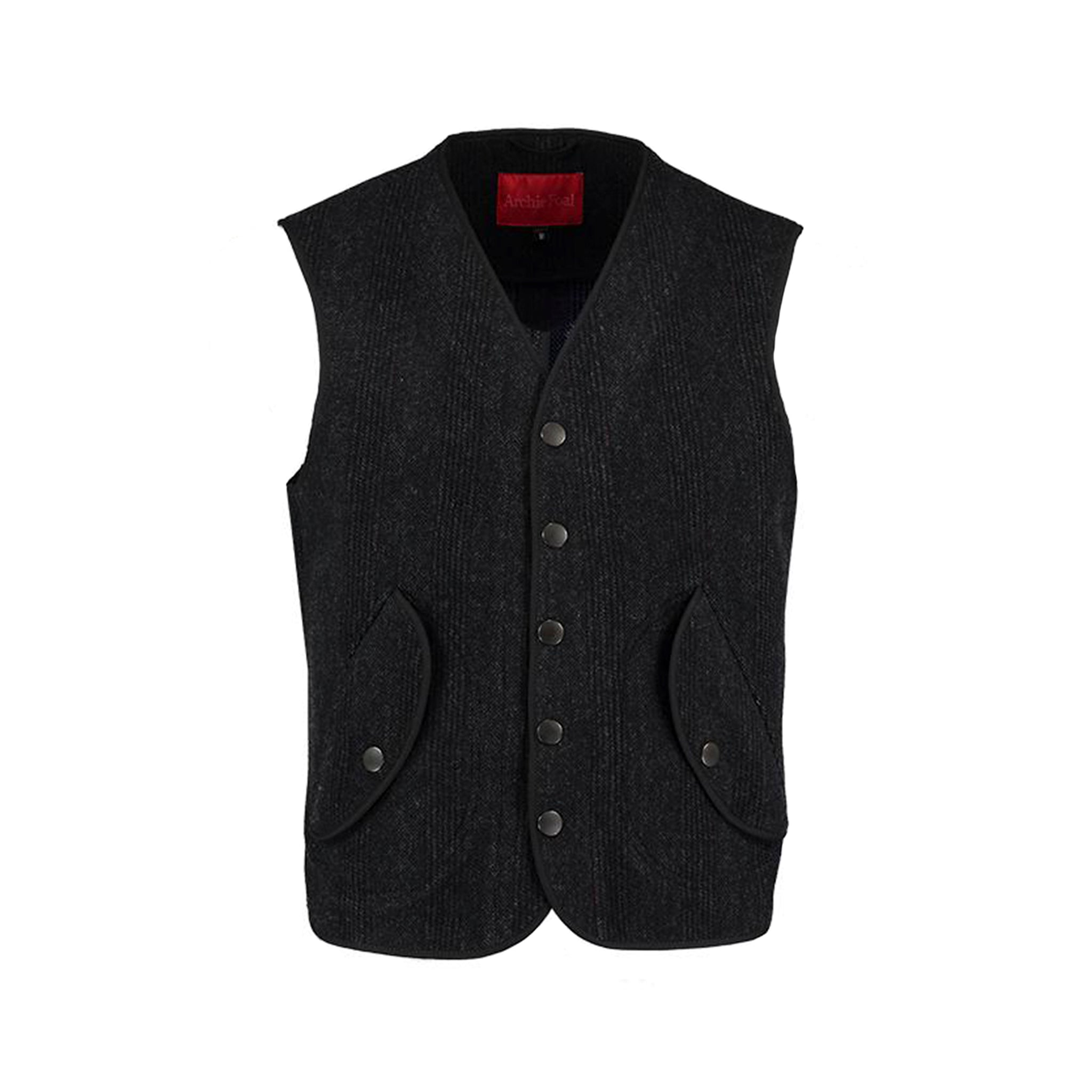 Archie Foal Men's Charcoal Grey Check Unlined Waistcoat