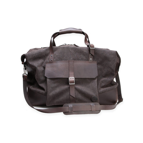 Thorndale Haughton Holdall bag in wax cotton and brown leather