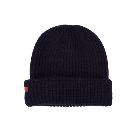 Archie Foal Kade Ribbed Beanie Hat in Navy