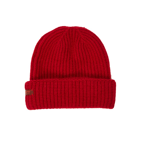 Archie Foal Unisex Kade Ribbed Beanie Hat in Red