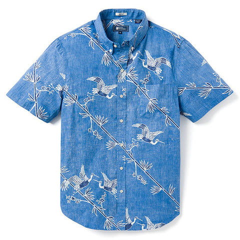 "Reyn Spooner ""Crane's Flight"" Short Sleeve Shirt in Maritime Blue"