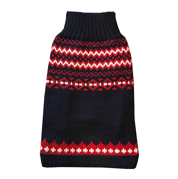 Archie Foal Fairisle Navy and Red Dog Top