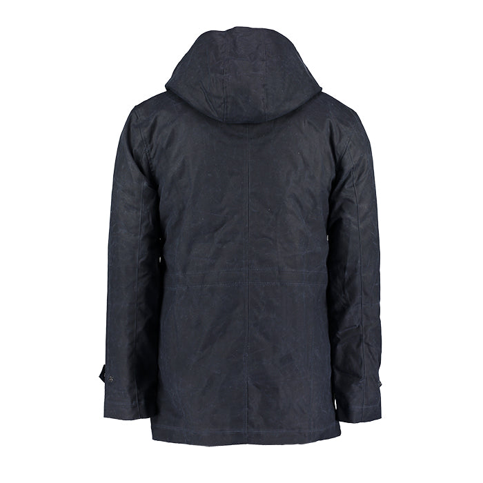 Archie Foal Wax Cotton Parka in Navy