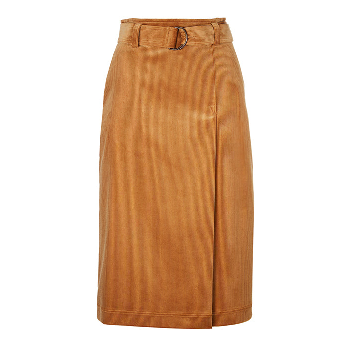 Archie Foal Women's Hedda Belted Corduroy Skirt in Fawn