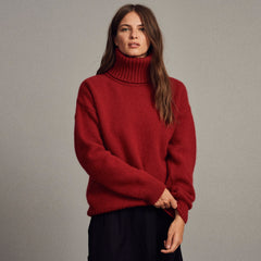 Archie Foal Women's Tove Chunky Oversized Roll Neck Sweater in Red