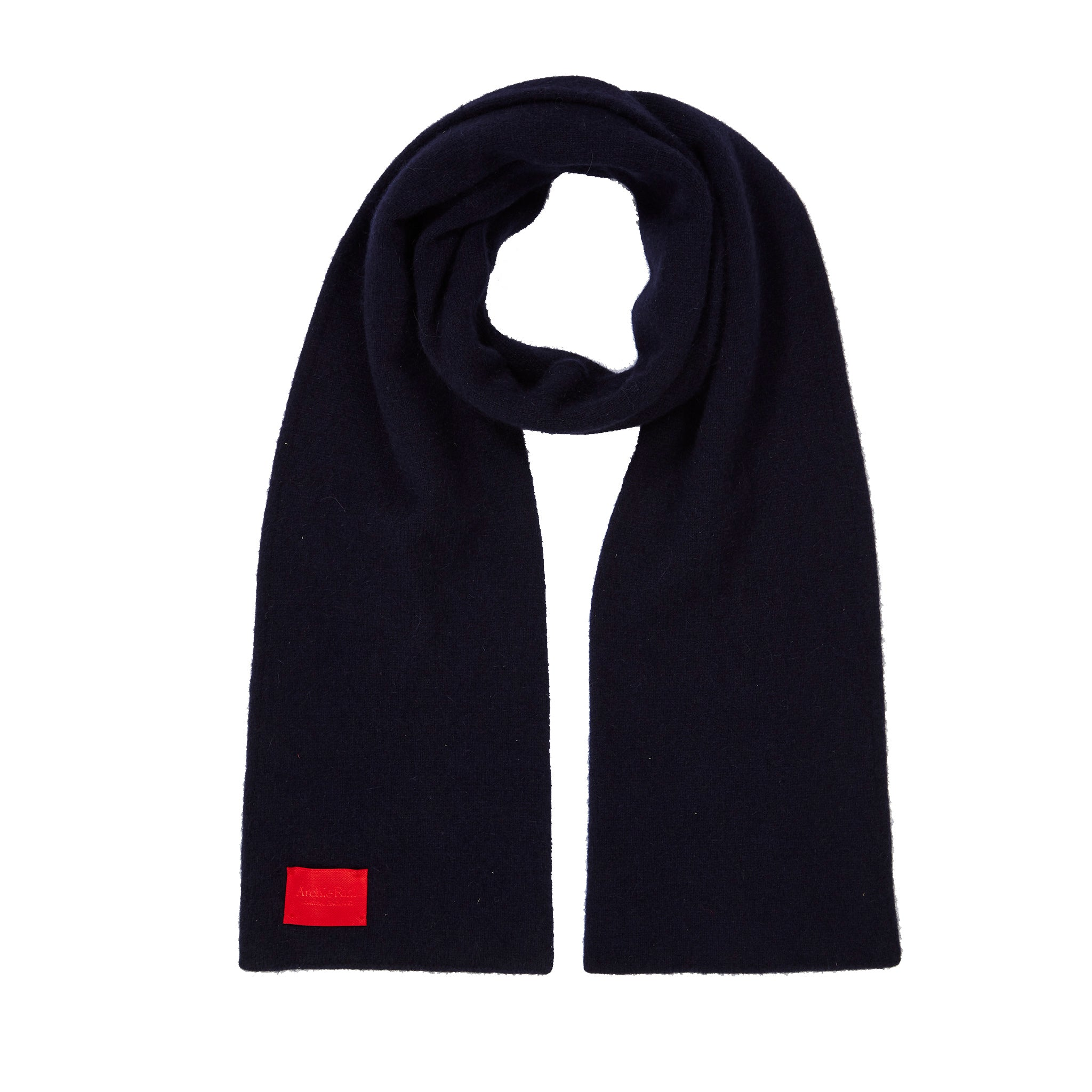 Archie Foal Unisex Albin Supersoft Merino/Angora Scarf in Navy