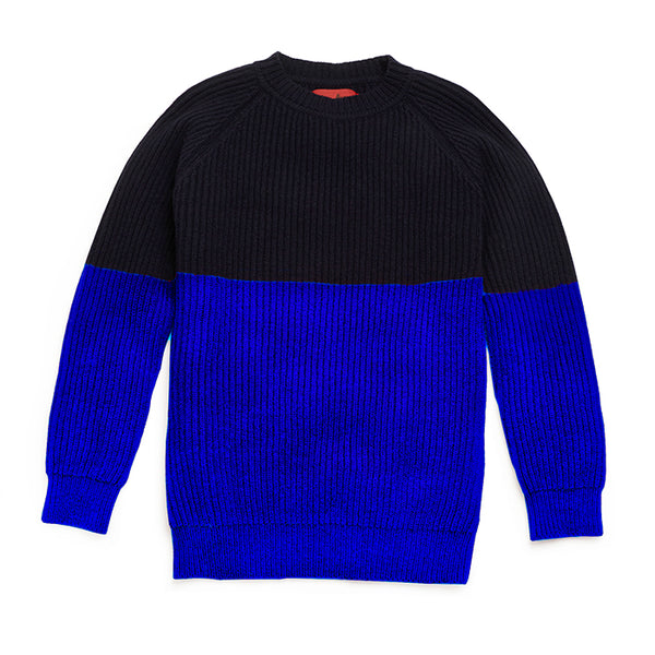 Archie Foal CASPAR Rib Sweater in Navy & Persian