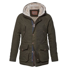 Handstich Theo Dark Olive Waxed Cotton Parka Coat
