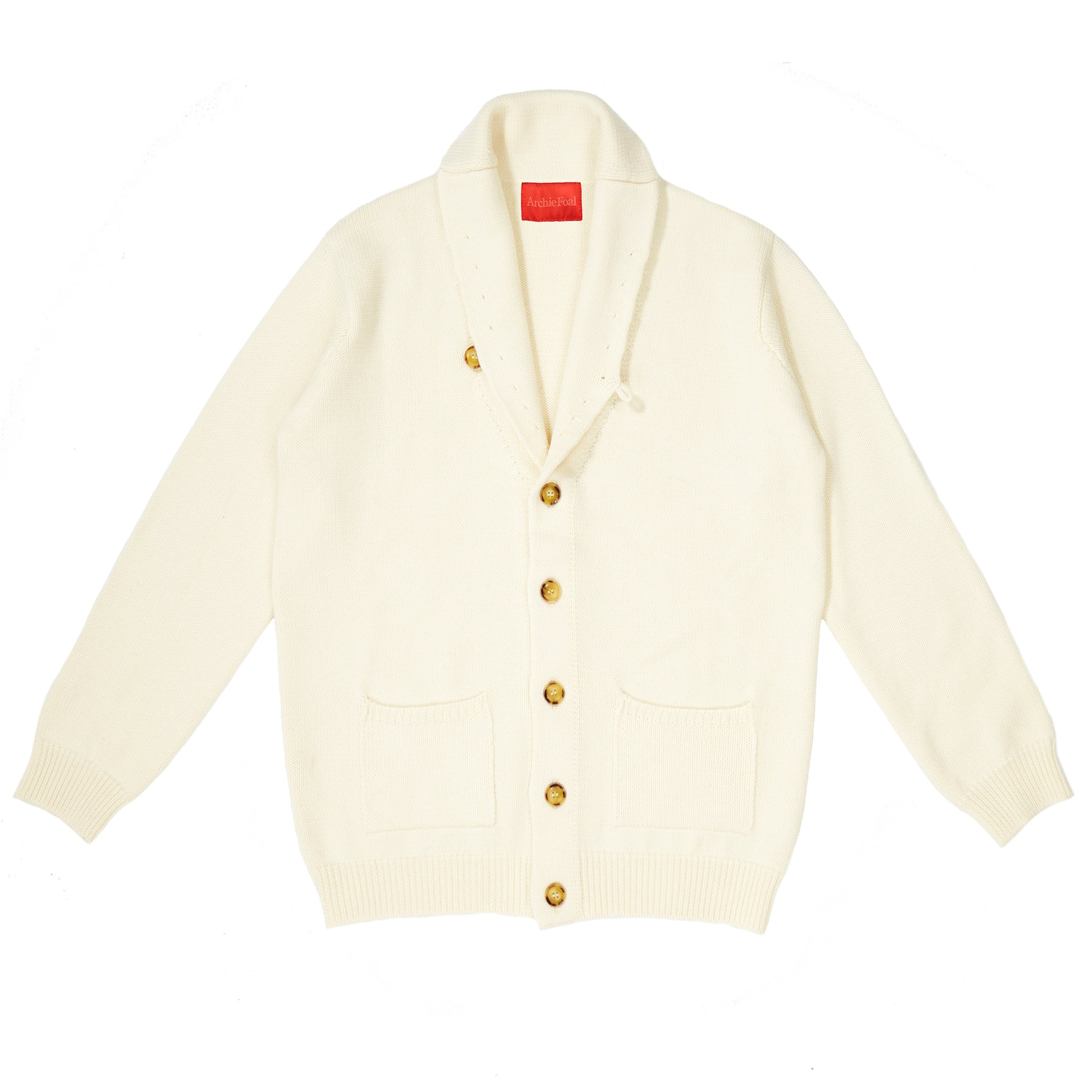 Archie Foal Men's KENNAN Shawl Collar Cardigan in Cream