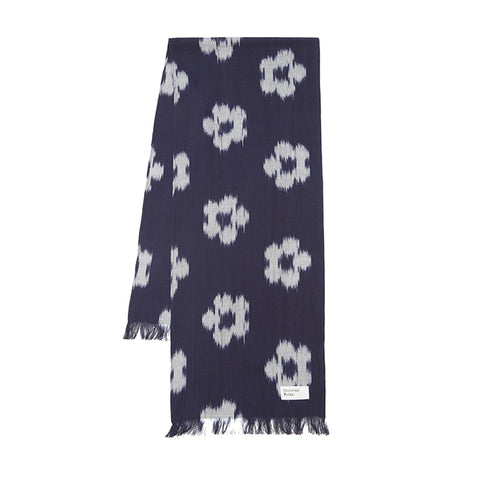 Universal Works Short Scarf In Indigo Ikat Flower