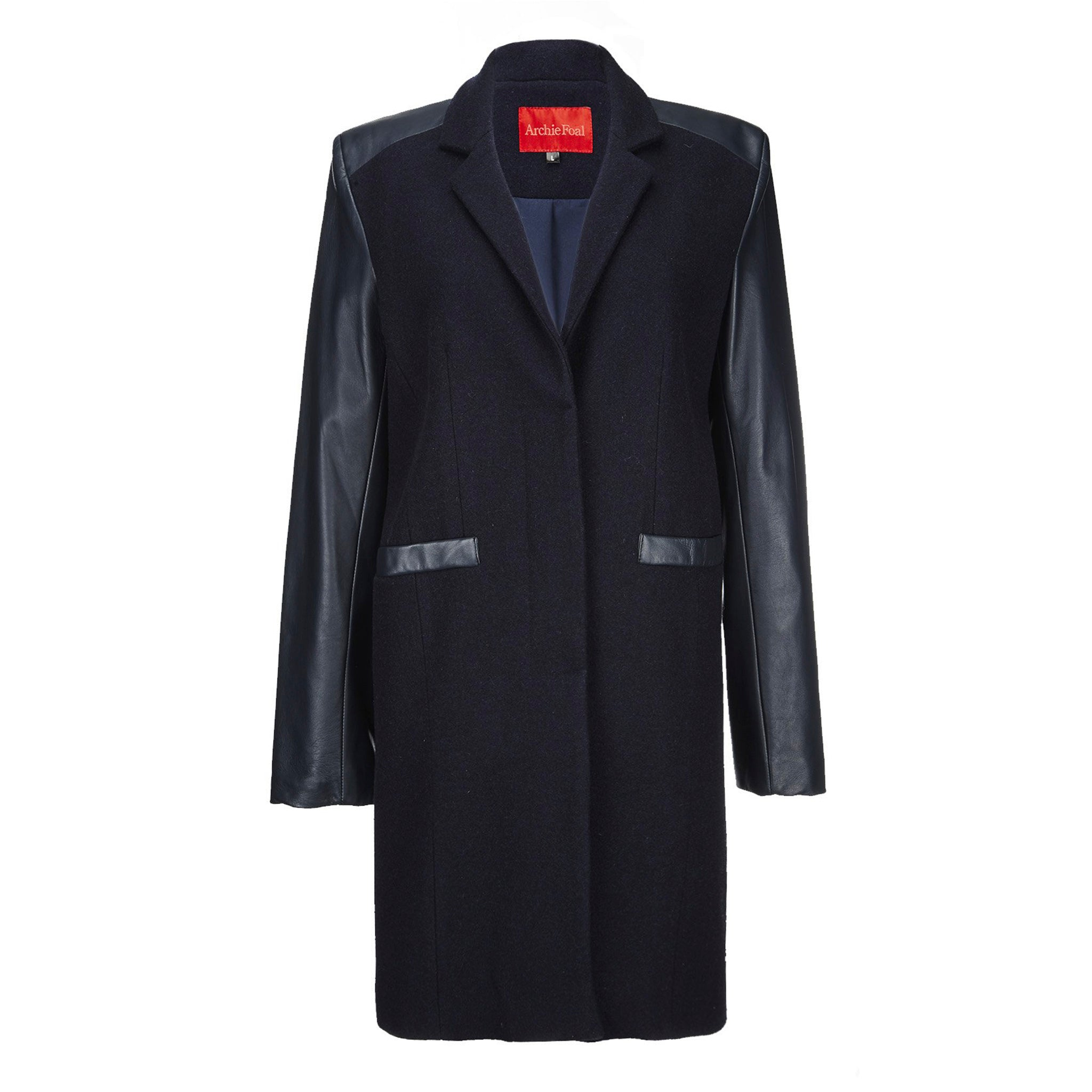 Archie Foal Women's Toril Navy Wool and Leather Coat