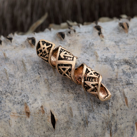 Beard Rings - Beard/Hair Bead, Bronze with Runes - Grimfrost.com