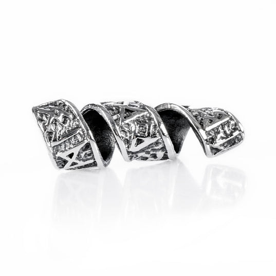Beard Rings - Beard/Hair Bead, Silver with Runes - Grimfrost.com