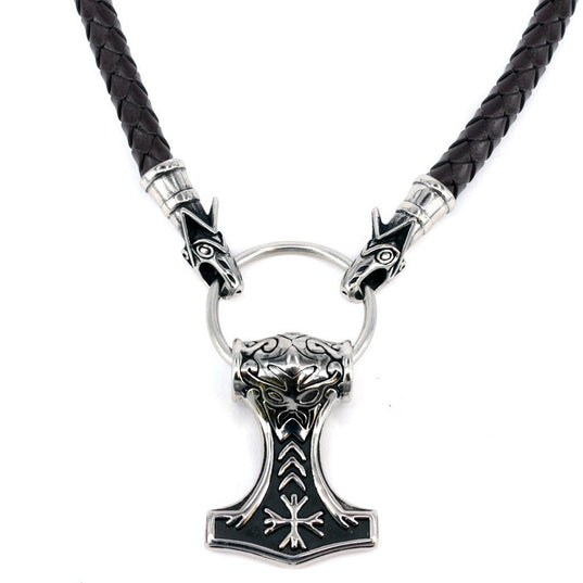 Wolf Head Mjölnir, Black Leather