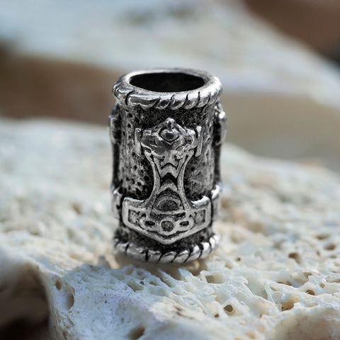 Beard Rings - Mjolnir Beard Ring, Silver - Grimfrost.com