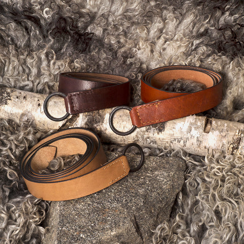 Belts - Viking Leather Belt, Iron Ring - Grimfrost.com