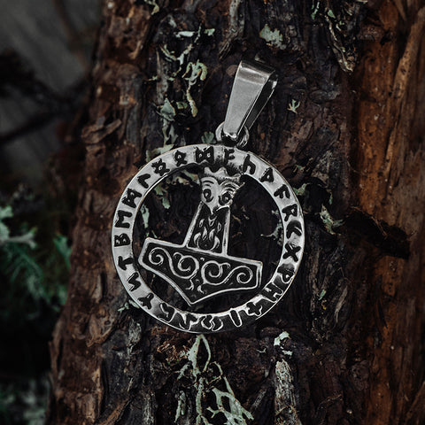 Thor's Hammers - Rune Thor's Hammer, Silver - Grimfrost.com