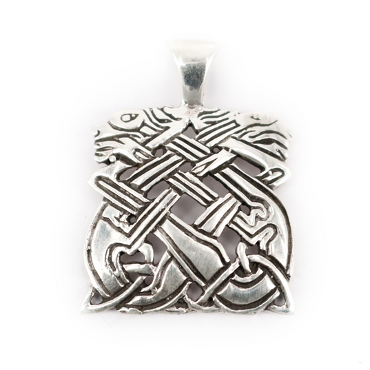 Viking Jewelry - Gripping Beast Pendant, Silver - Grimfrost.com