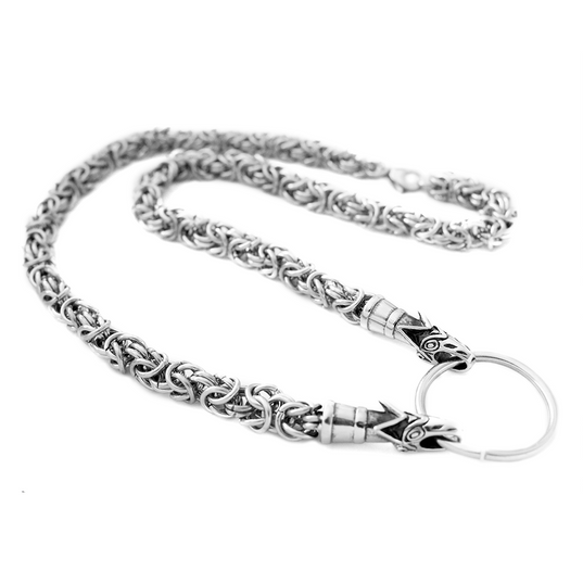Viking Neck Chains - Wolf King Chain, Stainless Steel - Grimfrost.com