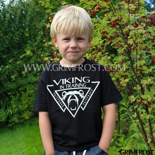 Clothing - Modern - Kids T-shirt, Viking, Black - Grimfrost.com