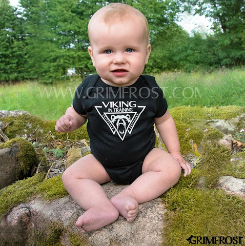 Kid's Clothing - Baby Bodysuit, Viking, Black - Grimfrost.com