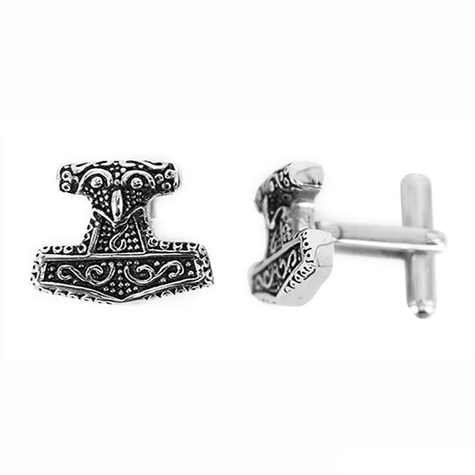 Mjolnir Cufflinks, Stainless Steel