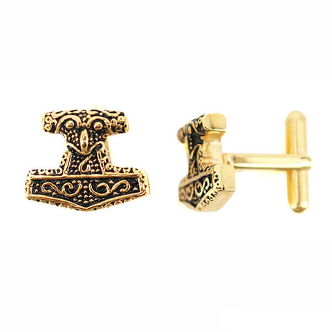 Cufflinks - Mjolnir Golden Cufflinks, Stainless Steel - Grimfrost.com