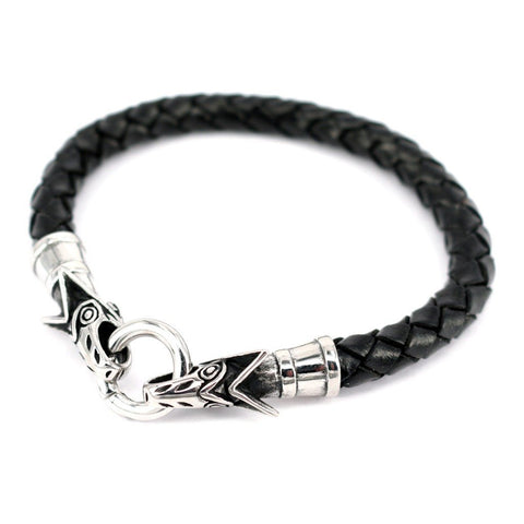 Viking Jewelry - Wolf Leather Bracelet, Black - Grimfrost.com