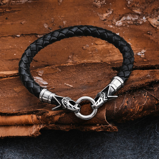 Arm Rings - Wolf Leather Bracelet, Black - Grimfrost.com