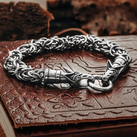 Arm Rings - Wolf King Chain Bracelet, Stainless Steel - Grimfrost.com