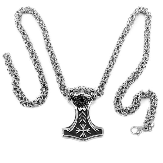 Viking Jewelry - King Chain Mjolnir, Stainless Steel - Grimfrost.com