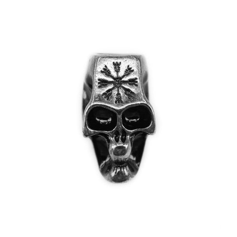 XL Beard Ring, Dark Metal Skull