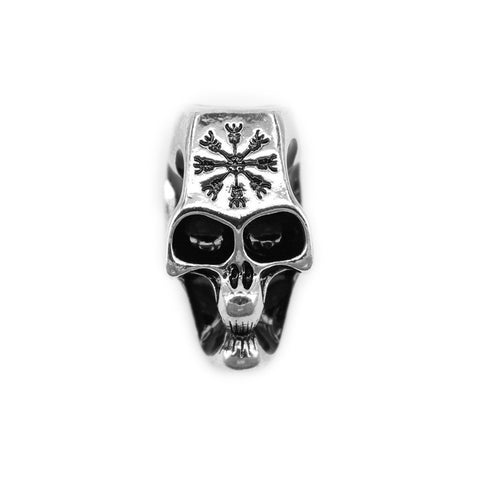 XL Beard Ring, Shiny Silver Skull