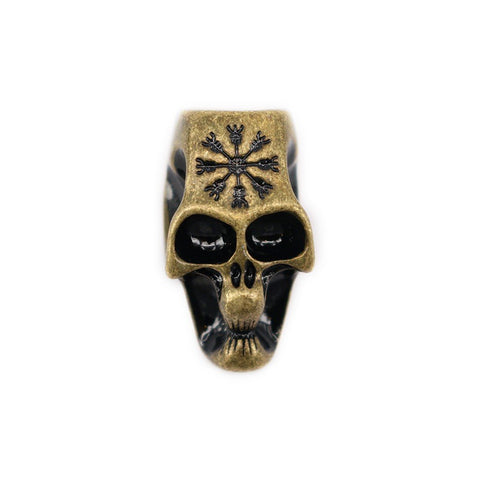 XL Beard Ring, Antique Gold Skull