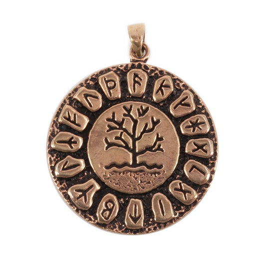 Pendants - Runic Yggdrasil Amulet, Bronze - Grimfrost.com