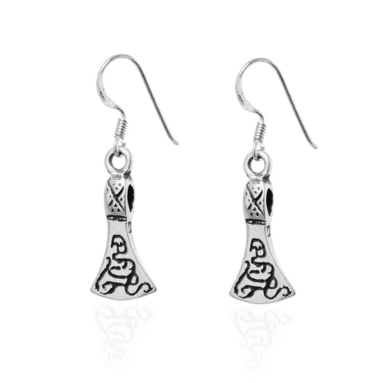 Earrings - Axe Earrings, Silver - Grimfrost.com