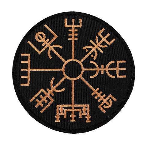 Patches - Vegvisir Patch, Embroidered, Black - Grimfrost.com