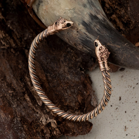 Viking Jewelry - Bear Armring, Silver and Bronze - Grimfrost.com