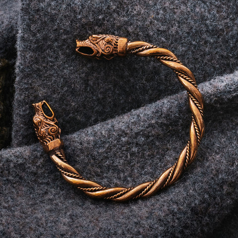 Arm Rings - Hati & Sköll Armring, Bronze - Grimfrost.com