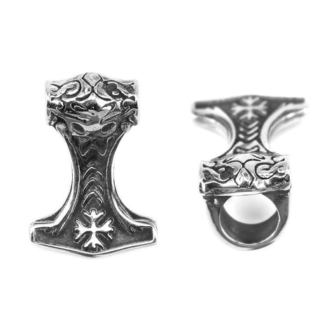 Beard Rings - Hammer of Awe Beard Ring, Stainless Steel - Grimfrost.com