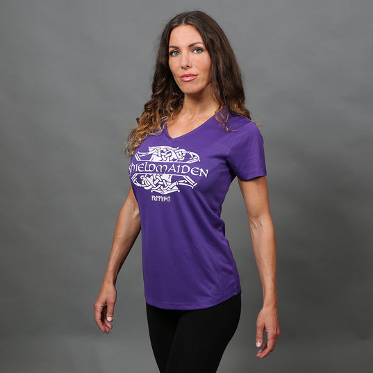 Shortsleeves - V-neck Tee, Shieldmaiden, Purple - Grimfrost.com
