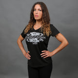 Shortsleeves - V-neck Tee, Shieldmaiden, Black - Grimfrost.com